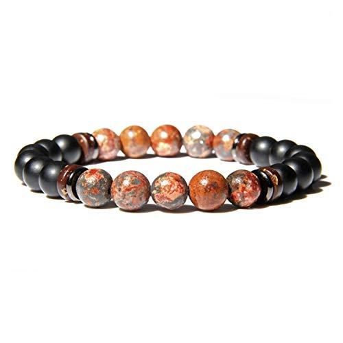 YCSC Pulsera Natural Moonstone Beads Tibetano Buda Pulsera Vintage Chakra Volcánico Lava Piedra Charm Pulsera Hombres Joyería (Length : 23CM, Metal Color : 36)