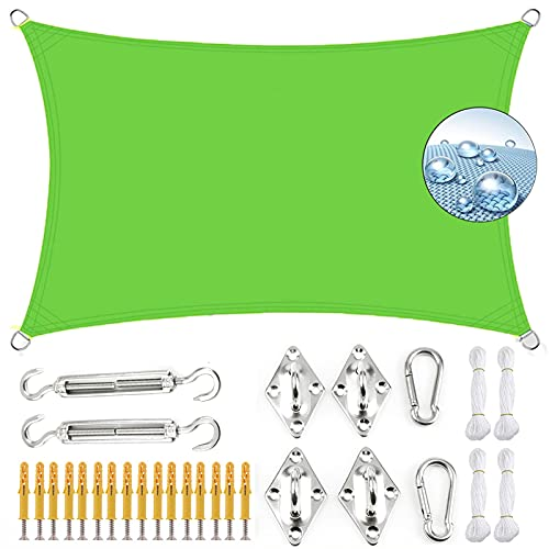KOUDU Toldo Parasol 4.5x5m Telas Lona Cubierta Protección Anti-UV 95%, Toldo Vela IKEA Impermeable, para Jardin Terraza Patio Gris, Verde