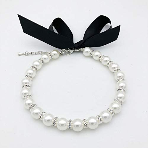 PETFAVORITES Diamond Dog Pearls Necklace Jewelry for Small Dogs Puppy Bling Rhinestones Cat product image