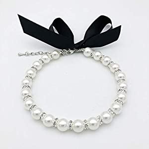 PETFAVORITES Diamond Dog Pearls Necklace Jewelry for Small Dogs Puppy – Bling Rhinestones Cat Wedding Collar – Chihuahua Yorkie Girl Clothes Costume Outfits Accessories (Snow White, 8 to 10-Inch)