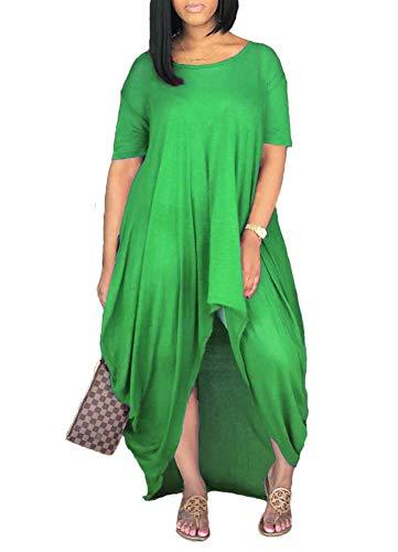 Remelon Women Short Sleeve Loose Fit Ruched High Low Asymmetrical Swing T Shirt Long Maxi Dress Green L