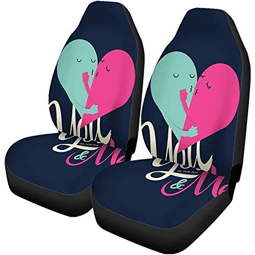 Enoqunt Autositzbezüge Happy Valentine Day Grüße Sie und ich Typografische Liebe Set von 2 Protektoren