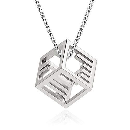 SUIWO Collar de Las Muchachas de la joyería Collar de Cadena Pendiente del Collar de Las Mujeres del Cuello de la Mujer de la Cadena Colgante Collar de Rubik Cubo de joyería Colgante de la Mujer