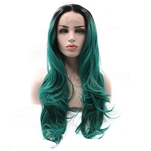 Postiches naturelles Fashian Ladies Cos longue perruque de cheveux ondulés avant gradient de cheveux bouclés Long Wave Ponytail pour les femmes (Color : Green)