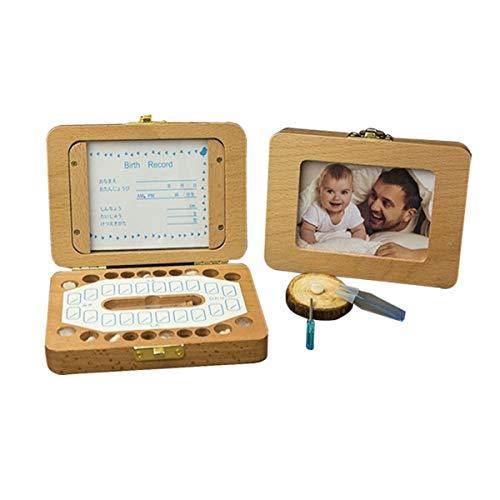 Cajas para Dientes de Bebé Caja para Guardar Dientes para Niños y Niñas, Regalo para Niños en Madera de Souvenir Acumulación de Dientes