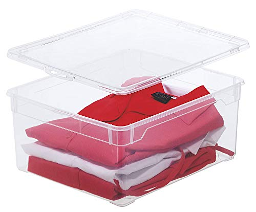Rotho Clear Aufbewahrungsbox 18l mit Deckel, Kunststoff (PP) BPA-frei, transparent, 18l (40,0 x 33,5 x 17,0 cm)