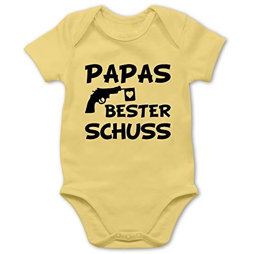 Vatertagsgeschenk Tochter & Sohn Baby - Papas Bester Treffer - 1/3 Monate - Hellgelb - Best Daddy - BZ10 - Baby Body Kurzarm für Jungen und Mädchen