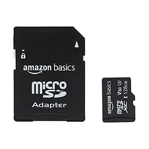 Amazon Basics - microSDXC-Speicherkarte, 128 GB, mit großem Adapter, A2, U3, lesegeschwindigkeit von bis zu 100 Mbit/s