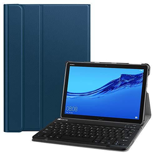 Fintie Bluetooth QWERTZ Tastatur Hülle für Huawei MediaPad M5 Lite 10 - Ständer Schutzhülle mit Magnetisch Abnehmbarer Drahtloser Deutscher Bluetooth Tastatur für Huawei M5 Lite 10.1, Marineblau