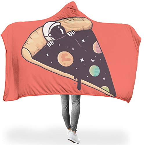 Cneiecy Universal Hooded Blanket Pizza NASA Patterns Print Microfiber Leisure Wear Hoodies Blanket - Funny Astronaut Wearable Blanket Suitable for Lunch Break Use White 50x60 inch