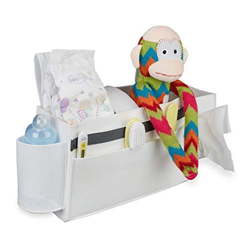 Relaxdays Betttasche Hochbett, 8 Fächer, Baby-& Pflegebett, Filz Bett Organizer zum Anhängen HBT 23 x 43 x 11 cm, weiß