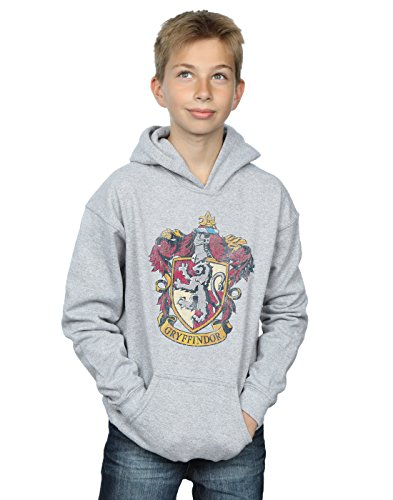 HARRY POTTER niños Gryffindor Distressed Crest Capucha 7-8 Years Gris Sport