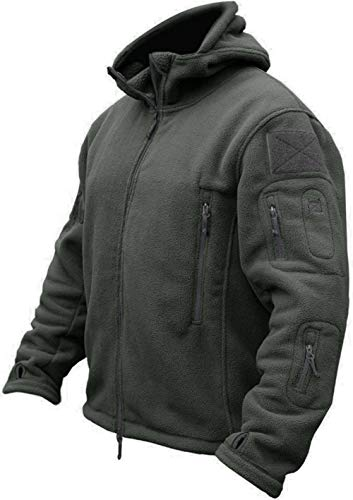 TACVASEN Herren Fleecejacke Military Outdoor Winddichte Jacke mit Kapuze- Gr. L, Grau