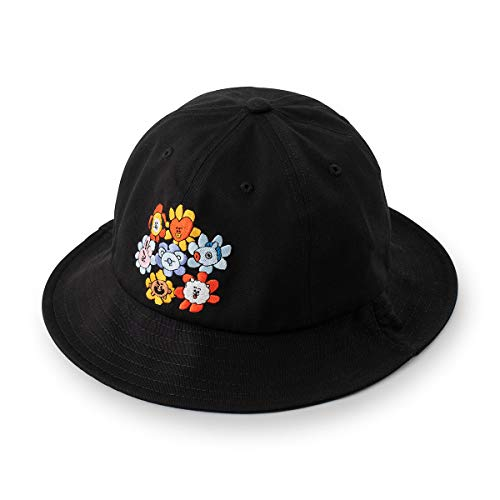 BT21 Flower Collection Character Embroidered Unisex 100% Cotton Bucket Hat, Black