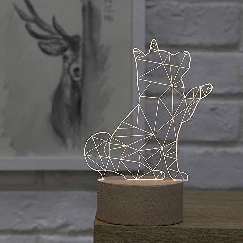 Kreative einfache Plexiglas/Holz 3D Tischlampe, nordische dekorative Shiba Inu Form LED SMD Schreibtischlampe für Kinder, Schlafzimmer Nachtlicht Geschenk Harz Tischlampe Acryl Tischlampe