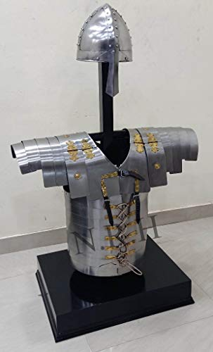 Armor Roman Lorica Segmentata Jacket Replica LARP With Medieval Norman Helmet Set