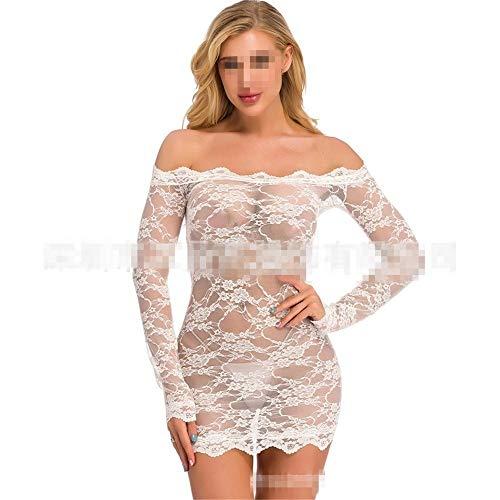 QYQQFZ Nachtjapon Dames Lace pyjama met lange mouwen Lace Lingerie Pajamas Sheer nachtkleding Nachtkleding Outfits (Color : White, Size : M)