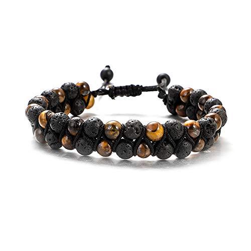 UEUC - Pulsera tejida con piedra de ojo de tigre, doble capa trenzada de piedra de lava de 6 mm, difusor de aceite esencial para yoga ajustables en piedra natural con chakra (#1)