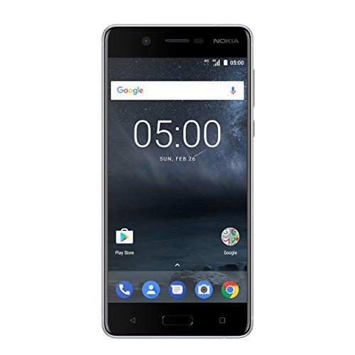 Nokia 5 Smartphone (13,2 cm (5,2 Zoll), 16GB, 13 Megapixel Kamera, Android 7.0, Single Sim) satin-silber/weiß, version 2017