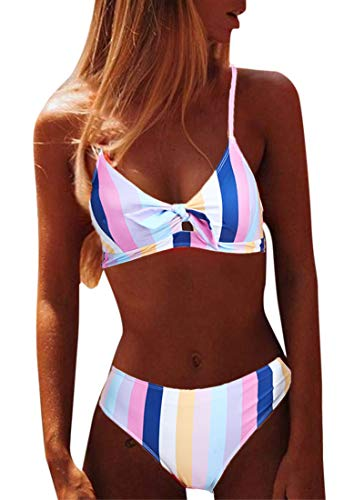 Yutdeng Costumi da Bagno Donna Mare Bikini Due Pezzi Push-up Reggiseno Imbottito Sportivi Costume da Bagno a Righe Costume da Bagno Spiaggia Sexy A Vita Alta Beachwear