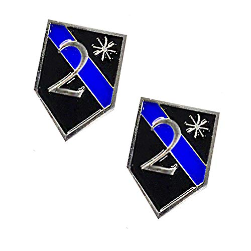 Thin Blue Line Two Ass To Risk K9 2 Black and Blue Silver Trim Lapel Pin (Two Lapel Pins)