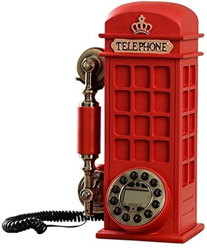 Teléfono con Cable Moda Retro Cabina de teléfono Teléfono Línea Fija Botón Dial Estilo Europeo Retro Personalidad Encantadora 32 * 13 * 24 cm teléfono inalámbrico