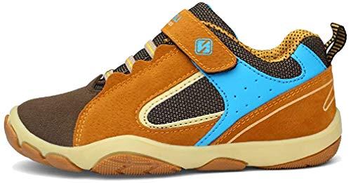 Unpowlink Kinder Schuhe Sportschuhe Ultraleicht Atmungsaktiv Turnschuhe Klettverschluss Low-Top Sneakers Laufen Schuhe Laufschuhe für Mädchen Jungen 28-37 (32 EU, Dunkel gelb)