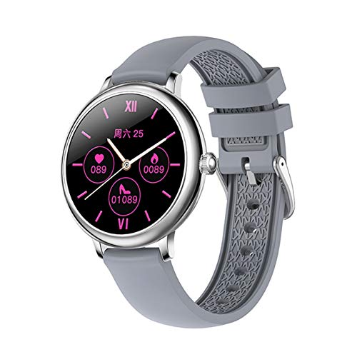 LXF JIAJU Moda Smart Watch Women 1.08'HD Personalizado Papel Tapiz Cardíaco BP Monitor Función Femenina Smartwatch para iOS Android (Color : Silicon Grey)