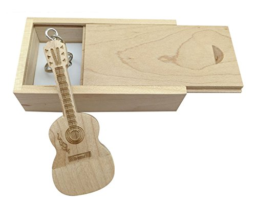 Guitar Shaped Maple Wood Memory Stick USB Flash Drive in Wood Box (3.0/32GB, Maple Wood)