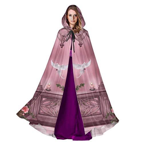 WYYWCY Fantasie Künstlerische Bogen Rose Rosa Vine Dove Kerze Mantel Erwachsene Cape Mantel Frauen 59 Zoll Für Weihnachten Halloween Cosplay Kostüme