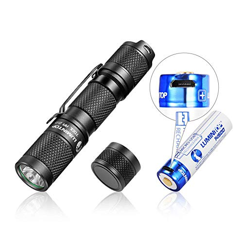 LUMINTOP Tool AA Flashlight Small Flashlight Super Bright, with Rechargeable 14500 Battery and Magnetic Tail, IPX-8, up to 650LM, Flashlight for Camping, EDC, Dog Walking etc.
