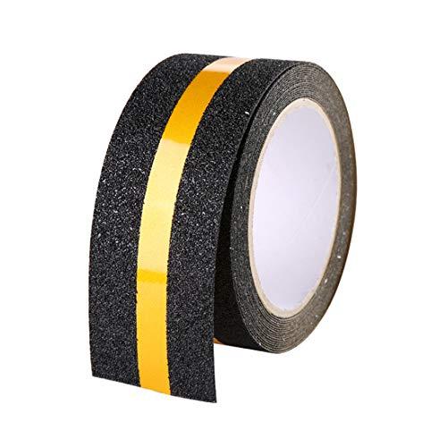 Hylaea Anti-Rutsch-Klebeband, schwarz, rutschfestes Sicherheitsband, Grip-Zugband, schwarz, abriebfestes Anti-Rutsch-Klebeband für Boden, Treppen, Stufen 2 Inch x 16.4 Feet Reflective Anti Slip Tape