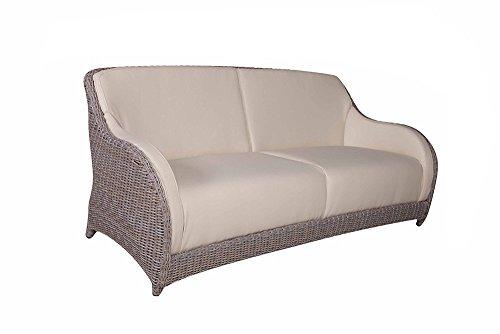 Strandkorbwerk Sofa Marino 3-Sitzer Cubu Croko Yachtbezug Polyrattan Gartensofa Couch