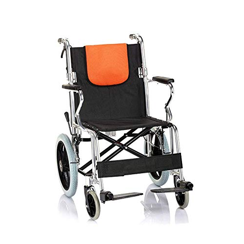 TIANYOU Wheelchair,Manual Wheelchair Reinforced Aluminum Alloy Foldable Folding Back Light for The Elderly Disabled Swing Away Footrests hgfhdfgdfgds