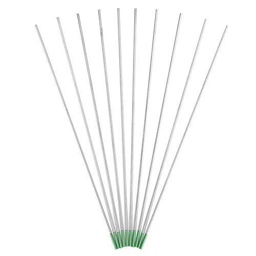 Electrodos de tungsteno puro, punta verde 1.0/1.6/2.0/2.4/3.2 mm para soldadura Tig de CA 10 piezas(2.0mm*150mm)