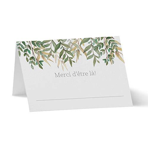 Partycards Marque Place pour Mariage, Baptême, Anniversaire, Noel   Porte Nom de Table en Papier - 50 Cartes Porte Prénom, A7 (Modèle : Papier Kraft avec Lierre)