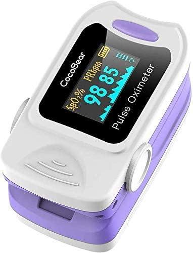CocoBear Pulse Oximeter Moniteur de saturation pour oxymètre de doigt portable professionnel, écran OLED mesurant la ...