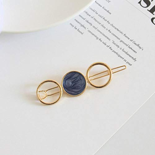 Miner The New Ins Geometry Round Metal Magic Hair Clip pour Woman is Grace Temperament Tender Fringe Pinch Clamp Bobby Hairpin Decorate, Black