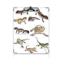 クリップボード A4 爬虫類 かわいい画板 マルチカラーの凝視ヒョウGecko家族イメージ原始爬虫類野生生物アートプリントホーム A4 タテ型 クリップファイル ワードパッド ファイルバインダー 携帯便利マルチ