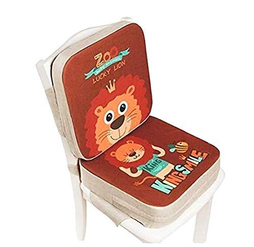 Lelesta Cuscino per Sedia da Pranzo per Bambini 2 Pezzi Cuscino per Sedia Rialzato per Bambini Regolabile Seggiolone Cuscino di Rialzo Cuscino per Sedia, 39 * 39 * 10 cm+39 * 39 * 5 cm (Leone)