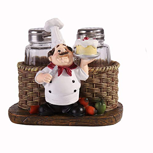 Huachaoxiang Salt Spire Cute Cook Statue, Statue Pepper Bottle Holder for Home Kitchen Decoration Salt and Spreader Mini Matted Cute Chef,1