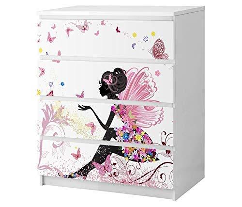Set Möbelaufkleber für Ikea Kommode MALM 4 Fächer/Schubladen Kinderzimmer Mädchen Fee Prinzessin Kat2 Schmetterlinge rosa ML4 Aufkleber Möbelfolie sticker (Ohne Möbel) Folie 25B2680