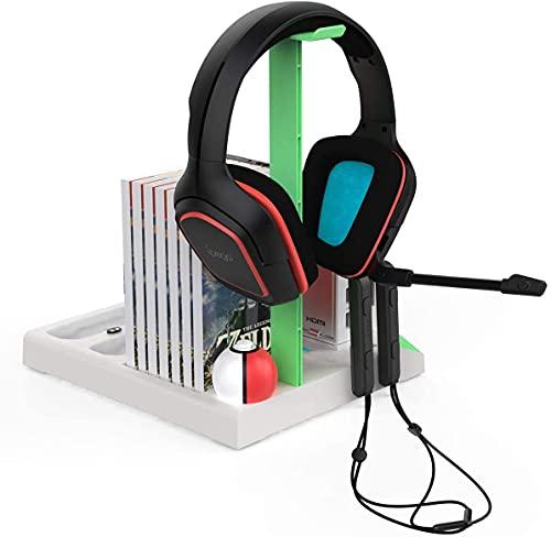 TwiHill Suporte de carregamento para JoyCons, Dock de carregamento de resfriamento para Nintendo Switch Pro Controller e JoyCons com ventilador de resfriamento, suporte de fone de ouvido e armazenamento de acessórios (branco)