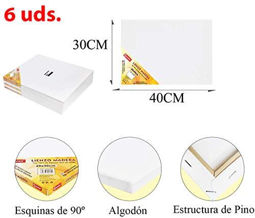 Pack de 6 lienzos 30 x 40cm de 100% algodón apto para óleo