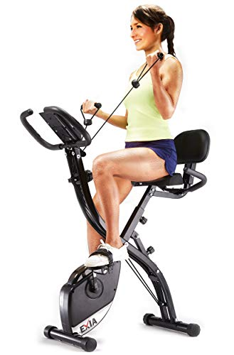 EXIA Folding Magnetic Exercise Bike with Pulse Sensor, Upright and Recumbent Stationary Bike with Arm Resistance Bands Ropes, 3 in 1 Cycling Indoor Trainer, Perfect for Indoor, Men, Women, and Seniors