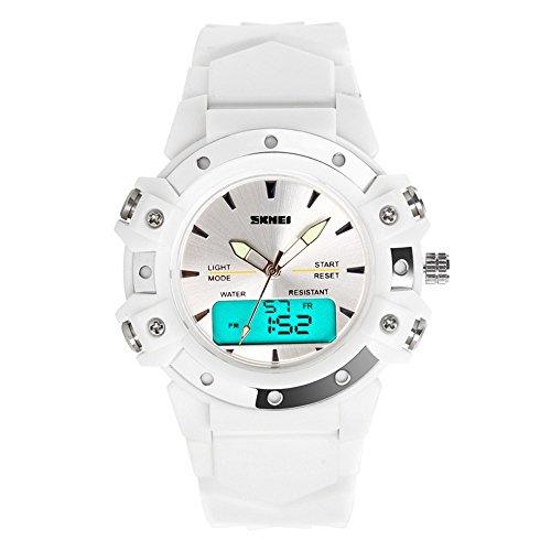 TONSHEN Moda Relojes de Pulsera Mujer Deportivo LED Electrónica Digital Dial Time Militares 12H / 24H Horas 5ATM Resistente al Agua Analógico Cuarzo Calendario Cronómetro (Blanco)