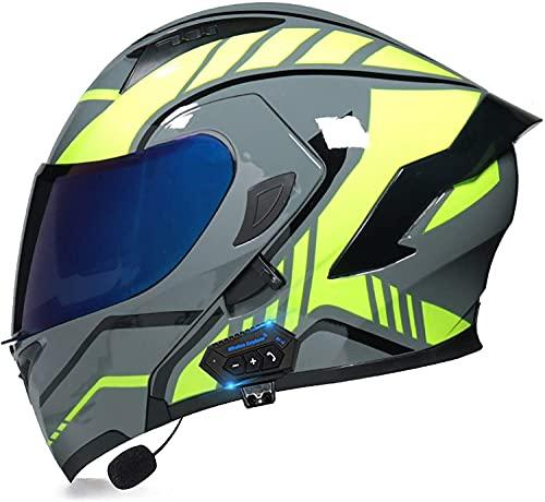 qaqy Motocicleta de Casco Completo para Adultos al Aire Libre Casco Integral Bluetooth Integrado Casco de Moto Modular con Doble Visera Cascos de Motocicleta (Color : B, Size : X-Large)