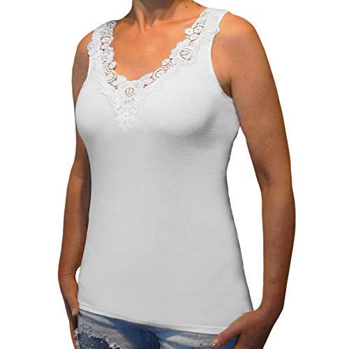 Toker Collection Hübsches Damen Unterhemd mit extra breiter Spitze in versch. Farben