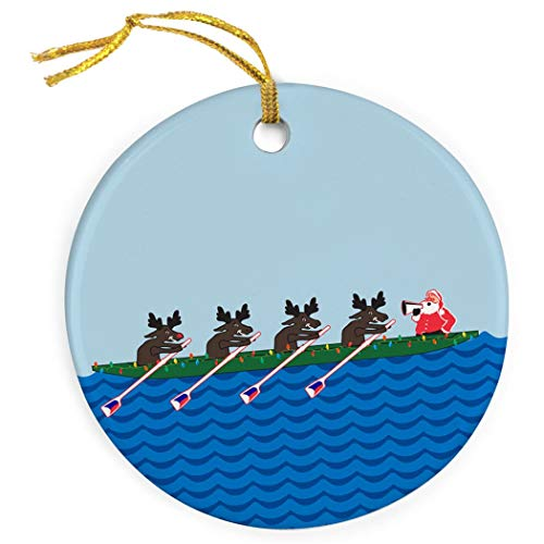 Mesllings Crew Porcelain Ornament | Rowing Reindeer Christmas Ornament