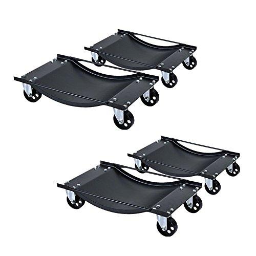 LARS360 4x Carrello Posizionatore per Parcheggio, Assistenza Per Parcheggio, Wheel Dollies Regolabile Carrelli Sposta Auto con 4 Ruote Assistente Di Parcheggio Salvaspazio Capacità 450kg per Carrello